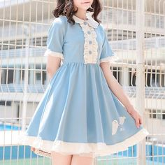 Material: made of polyester Size: S/M/L Option: Short sleeve, Long sleeve Size for reference: Size for short sleeve dress: Size Shoulder Bust Waist Length Sleeve Length S M L Kawaii Dress, Kawaii Clothes, Cute Teen Outfits, Outfits For Teens, Cute Fashion, Fashion Outfits, Short Sleeve Dresses, Dresses With Sleeves, Long Sleeve
