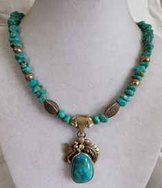 VTG Coers signed Hand made Sterling Silver Bench Bead Turquoise Pendant Necklace
