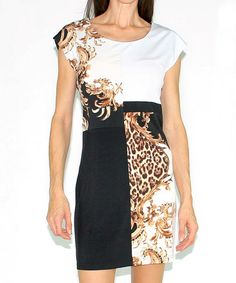 Another great find on #zulily! Black & Gold Jungle Color Block Shift Dress by Design 26 #zulilyfinds