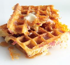 Ham and Cheese Waffles ! Oh My ! Gotta Make this right now ! :)