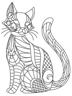 This mehndi-inspired kitty is ready to adorn pillows, scarves, shirts, and more. Downloads as a PDF. Use pattern transfer paper to trace design for hand-stitching.