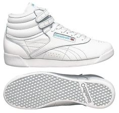 Reebok High Tops - Wore these with big, thick slouch socks.Sometimes wore several pair to match your outfit. 80s Workout, Workout Shoes, High Tops For Girls, Slouch Socks, Reebok Freestyle, Thick Socks, Womens Workout Outfits, Fashion Shoes, 80s Fashion