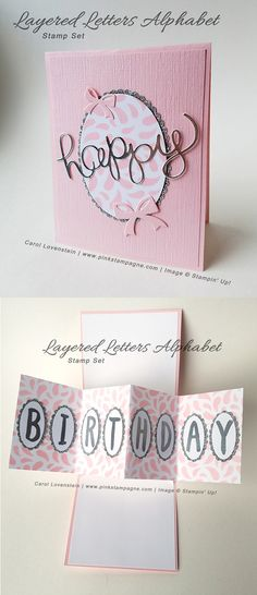 "Layered Letters Alphabet Happy Birthday | I just couldn't wait any longer to share this adorable take on the ""Pop & Twist"" card.  It features the Layered Letters Alphabet stamp set, Layering Ovals Framelits and Seasonal Decorative Masks.  This is so me……lots of pink, sparkle and shine. 