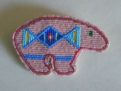 Crow Fully Beaded Bear Motif Pin Montana Crow reservation Outstanding Beadwork | eBay