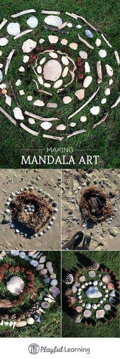 Mandala Art with Kids A great way to spend quality time outside (or in) with the little makers in our lives.A great way to spend quality time outside (or in) with the little makers in our lives. Land Art, Art Et Nature, Nature Crafts, Outdoor Education, Outdoor Learning, Nature Activities, Activities For Kids, Camping Activities, Forest School Activities