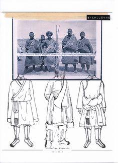 Design development of the silhouette Textiles Sketchbook, Fashion Sketchbook, Art Sketchbook, Fashion Sketches, Tibetan Clothing, Mode Pop, Fashion Design Portfolio, Fashion Figures, Modern Metropolis