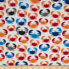 Happy Drawing Too Organic Crab White/Multi from @fabricdotcom  Designed by Ed Emberley for Cloud 9 Fabrics.  This certified 100% organic cotton print fabric meets the GOTS certification; only low impact, organic dyes were used in this product.  This fabric is perfect for quilts, home decor accents, craft projects and apparel.  Colors include red, orange, light blue, blue and grey on a white background.