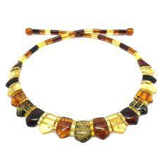 Collana grande ed elegante di gemme d'ambra baltica naturale - larghezza: 15 mm