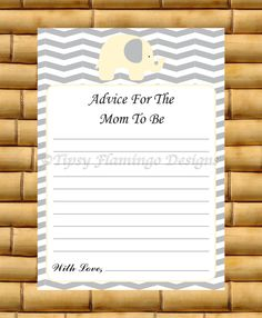Baby Shower Game, Advice For The Mom To Be, Baby Shower Game Card, Yellow and Grey, Chevron, Elephant, Printable Instant Download - TFD239 by TipsyFlamingoDesigns on Etsy