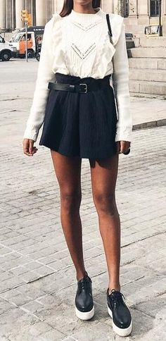 #fall #outfits ·  Sheer Blouse // Black Skirt // Sneakers