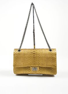 Chanel Gold Python 2.55 Reissue 226 Double Flap Bag 40543f8c52c2e