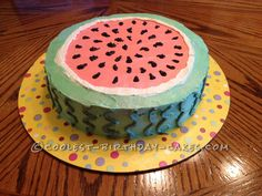 Easy Watermelon Cake... This website is the Pinterest of birthday cake ideas