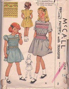 MOMSPatterns Vintage Sewing Patterns - McCall's 1514 Vintage 40's Sewing Pattern FANCIFUL Girls Smocked Party Dress, Cable Stitch Smocking on Bodice & Skirt Size 8
