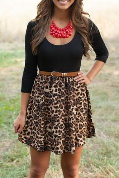 Stylish Scoop Neck Leopard Print Long Sleeve A-Line Dress For Women