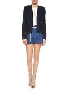 L'Agence Short Tweed Woven Frayed Jacket, Sleeveless Silk Keyhole Blouse & Paperbag-Waist Linen Shorts