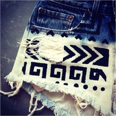 Just made a copy of these Aztec bleached shorts. Love them!!!