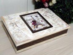 ---- Caixa MDF para bijoux  com pintura e decoupage