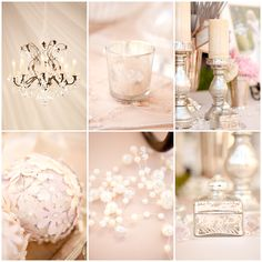 Crystal, Silver, White and a touch of color... looks lovely.