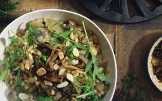 <p>In this recipe, rich and creamy risotto is paired perfectly with meaty, sautéed mushrooms and sweet caramelized onions. Pearl barley is used in the place of the standard arborio rice, lending its dense, chewy texture to this savory and cheesy meal.</p>