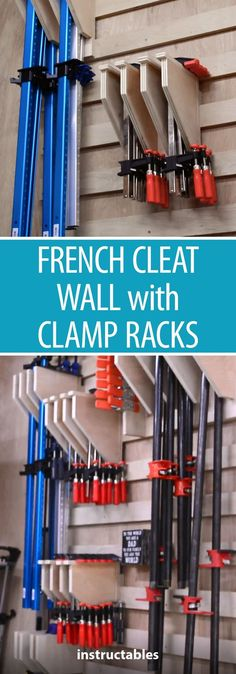 Wall With Clamp Racks Learn how to build a french cleat wall for a few different versions of the clamp racks. Great for keeping your workshop tools organized.Learn how to build a french cleat wall for a few different versions of the clamp racks. Great for