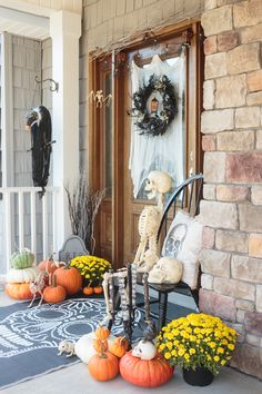 Haunted Halloween Boneyard Front Porch by Amy of Atta Girl Says, created exclusively for Discover, a blog by World Market #DiscoverWorldMarket