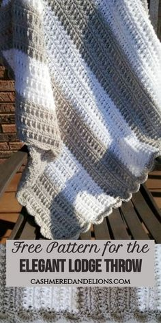 Free Crochet Pattern – Elegant Lodge Throw This free crochet pattern is for a lovely throw blanket with textured, neutral stripes and an over-sized shell border. The pattern has an easy repeat so it. Crochet Afghans, Crochet Throw Pattern, Easy Crochet Blanket, Afghan Crochet Patterns, Crochet Throws, Free Easy Crochet Patterns, Crochet Stitches, Striped Crochet Blanket, Dishcloth Crochet