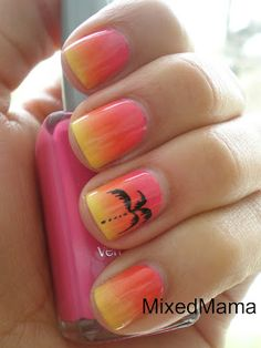 Sunset Nail Design Ideas to go along with our Palm Tree Bottles & Dispensers - http://www.mendabeauty.com/MendaBeautyCatalog/SummerCollection/