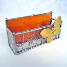 Butterfly Stained Glass Business Card Holder .... #Handmade by @wvmomma2 of    2GlassThumbs