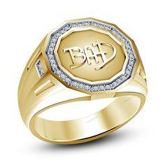 "14K Yellow Gold Finish Simulated Diamond 925 Silver ""BAD"" Men's Band Ring 7-14…"