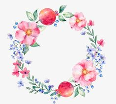 Aquarela de Flores., A Circular Frame, A Criatividade., Pintura De Flores Imagem PNG