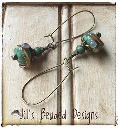 Teal Earrings Caramel Earrings Boho Earrings Dangle