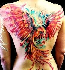 Home - tattoo spirit - , As a watercolor tattoo motif, the phoenix is finding more and more enthusiastic fans. Future Tattoos, New Tattoos, Body Art Tattoos, Sleeve Tattoos, Tattoos For Guys, Tattoo Art, Tatoos, Famous Tattoos, Phoenix Back Tattoo