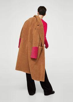 Kabát s kontrastní kožešinou - Žena 705f403fe6