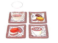 Retro fabric coasters Set of 4  White brown cotton by SABDECO