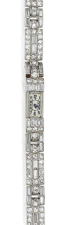 Vintage Watches Collection : An art deco diamond wristwatch, by Cartier, circa 1925 - Watches Topia - Watches: Best Lists, Trends & the Latest Styles Bijoux Art Deco, Art Deco Jewelry, Fine Jewelry, Jewelry Crafts, Jewelry Ideas, Jewellery, Elegant Watches, Beautiful Watches, Antique Jewelry