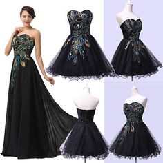Black Long/Mini Bridesmaid Prom Evening Party Formal Dresses Cocktail Ball Gown