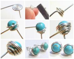 DIY: How to Make Stud Earrings Free DIY: How to Wire Wrapped Bead Stud Earrings! See step by step tutorial featured in recent Sova- Newsletter!Free DIY: How to Wire Wrapped Bead Stud Earrings! See step by step tutorial featured in recent Sova- Newsletter! Bijoux Wire Wrap, Wire Wrapped Earrings, Pearl Stud Earrings, Wire Earrings, Earrings With Chain, Heart Earrings, Flower Earrings, Wire Crafts, Jewelry Crafts