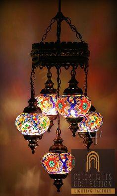 Turkish Mosaic Lamp Chandelier 5 Balls Lighting by fastsales Moroccan Lighting, Moroccan Lamp, Chandelier Lamp, Ceiling Lamp, Chandeliers, Suzani Fabric, Turkish Lamps, Turkish Lanterns, Turkish Lights