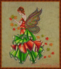 Fallyn, The Fall Fairy cross stitch design by Cross Stitching Art www.crossstitchingart.com