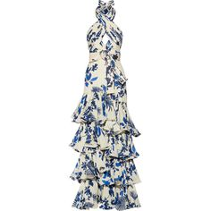 Johanna OrtizMagdalena Ruffled Printed Silk-georgette Gown (£3,065) ❤ liked on Polyvore featuring dresses, gowns, cream, floral dresses, floral ball gown, white halter gown, white halter top and floral gown