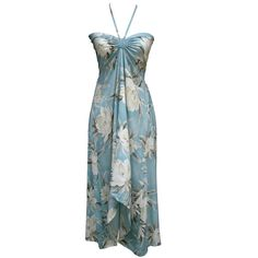 Sexy Tropical Hawaiian Halter Butterfly Cruise Luau Floral Dress Light Sky Blue in Clothing, Shoes & Accessories | eBay