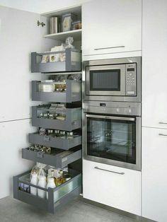 almacenaje en columna con cajones y caceroleros interiores.