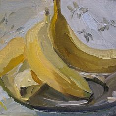 Original painting 'BANANA' by Linda Hunt 6X6 by LindaHunt on Etsy, $75.00