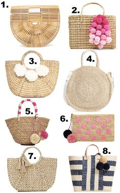 Basket bag, straw tote, best summer beach bags, bamboo arc bag, pom pom tote - 8 summer basket bags you need - click the photo for details! Summer Bags, Summer Diy, Summer Wear, Outfit Summer, Sisal, Stylish Petite, Straw Tote, Straw Beach Bags, Beach Tote Bags