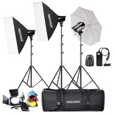 """Neewer® 540W(180W x 3)Professional Photography Studio Flash Strobe Light Lighting Kit for Portrait Photography,Studio and Video Shoots(T-180B) The kit included:(3)T-180B Strobe Light+(3)79""""/200cm Light Stand +(2)20"""" x 28 """"/50 x 70 cm Softbox+(1)33""""/84 cm Umbrella+(1)Barndoor HoneyComb with 4 Color Gels+(1)16 Channel Flash Trigger+(1)Carry Bag This professional kit is perfect for advertising products, photo-art, industrial, scientific and technical photography, and more..."""