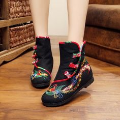 Asian Shoes, Embroidery On Clothes, All About Shoes, Court Shoes, Vintage Shoes, Outfit Sets, Fashion Boots, Wedge Shoes, Shoes
