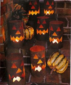 DIY Jack- o - lantern luminaries plus lots of great halloween ideas on this site