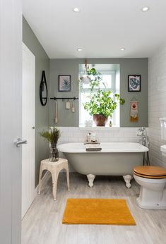 green bathroom This stylish bathroom combines contemporary trends - were loving the pops of mustard - with more traditional features, such as a stylish freestanding bath. Bathroom Layout, Modern Bathroom Design, Bathroom Interior Design, Bathroom Ideas, Bathtub Ideas, Simple Bathroom, Shower Ideas, Bad Inspiration, Bathroom Inspiration