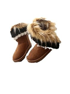 YINHAN Women Winter Warm Fur Snow Boots Short Ankle Boots Shoes brown us 55 ** Check out this great product.