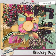 Blustery Days - digital scrapbooking kit from Designs by Romajo. Welcome to the fall season, where the winds are blowing and leaves are falling. Time to get outdoors and let your worries blow away while taking a hike. And now you can scrap those adventures in the wind as well.